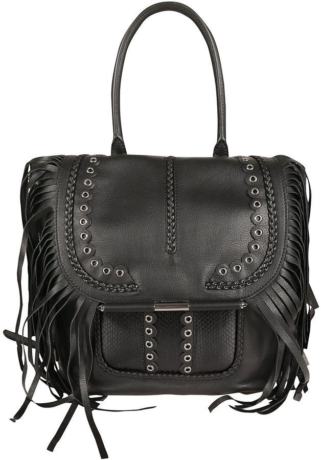 Barbara BuiBlack fantasia Fringed Bag