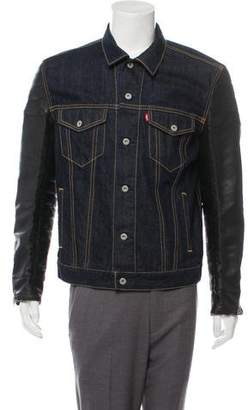Levi's Vegan Leather-Accented Denim Jacket w/ Tags