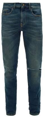 Ripped Slim Leg Jeans - Mens - Dark Blue