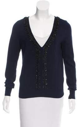 Oscar de la Renta Embellished Knit Sweater