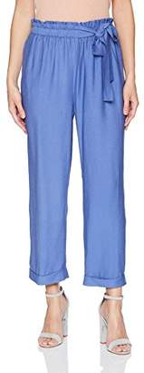 Moon River Women's Cropped Paper Bag Waist Bow Pants