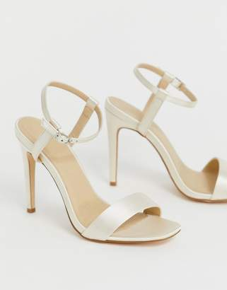 Truffle Collection bridal stiletto barely there square toe heeled sandals
