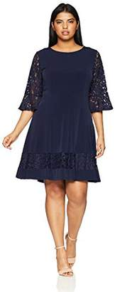3f15a12e822 Jessica Howard Women s Plus Size Seamed Fit and Flare Dress with Lace  Sleeves