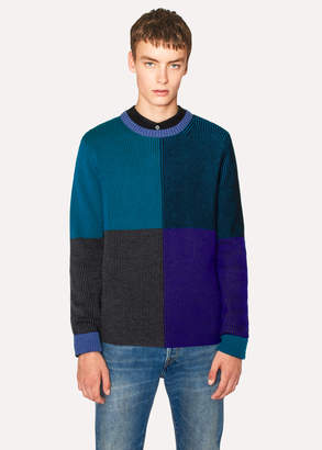Paul Smith Men's Blue Geometric Stripe Merino Wool Sweater
