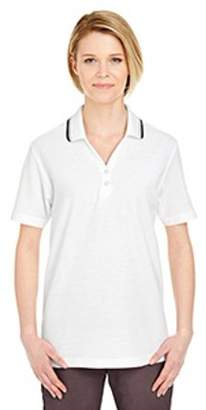 UltraClub Ladies' Short-Sleeve Whisper PiquePolo with Tipped Collar