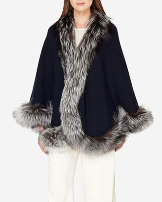 N.Peal Fox Trim Knitted Cashmere Cape