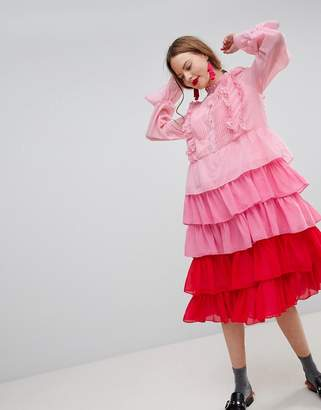 Sister Jane Tiered Midi Dress With Ruffle Front In Ombre