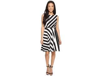 Tahari ASL Petite Crepe Multi Stripe A-Line Dress Women's Dress
