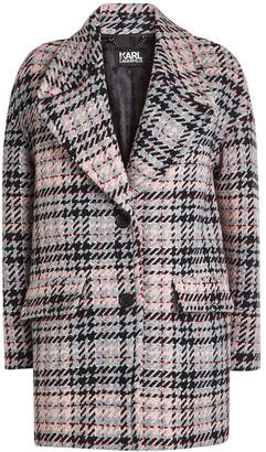 Karl Lagerfeld Oversized Check Coat with Wool
