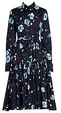 Marni Women's Floral Ruched Skirt Shirtdress