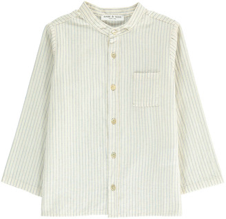 BABE & TESS Striped Mandarin Collar Shirt $124.80 thestylecure.com