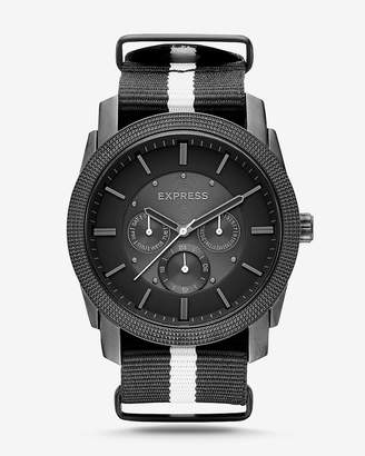 Express Rivington Stripe Multi-Function Watch - Black And White
