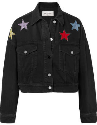 Valentino Cropped Embellished Denim Jacket - Dark denim