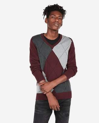 Express V-Neck Argyle Sweater