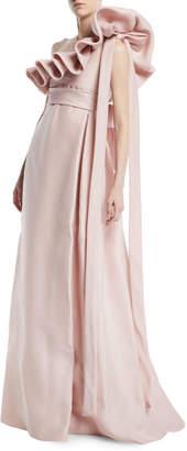 Valentino One-Shoulder Ruffle Light-Gazaar Full Evening Gown