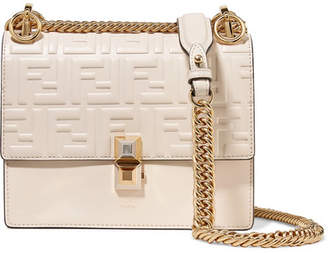 391c203ec77 Fendi Kan I Small Embossed Leather Shoulder Bag - Off-white