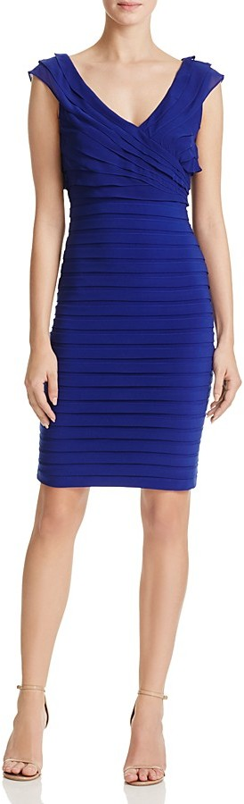 Adrianna Papell V-Neck Shutter Pleated Dress 2