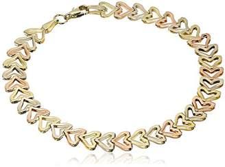 14k Gold Tri-Color Cut Hearts Bracelet