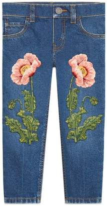 Gucci Kids embroidered straight leg jeans