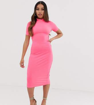 Asos DESIGN Petite neon midi rib bodycon dress with open back