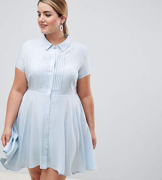 Asos Unique 21 Hero Plus UNIQUE21 hero plus short sleeved shirt dress with pleated skirt