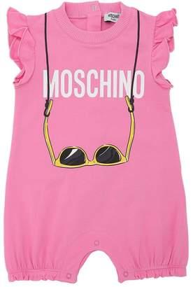 Moschino Logo Printed Cotton Jersey Romper