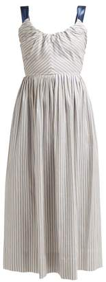 Luisa Beccaria Bow Striped Midi Dress - Womens - Blue Stripe