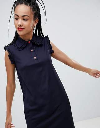 Love Moschino Satin Dress with Contrast Buttons and Frill Sleeve