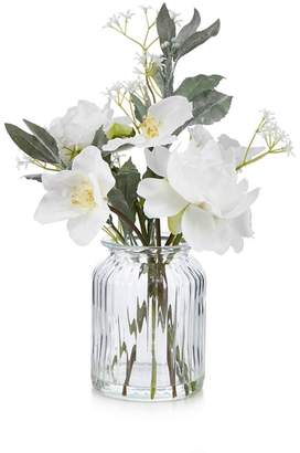Debenhams Home Collection - Artificial Peonies In A Glass Vase