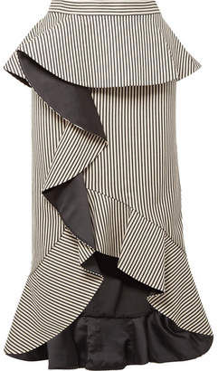 Alice + Olivia Alice Olivia - Alessandra Ruffled Striped Cotton-blend Midi Skirt - Ecru