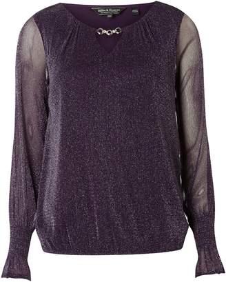 Dorothy Perkins Womens **Billie & Blossom Purple Glitter Trim Blouse
