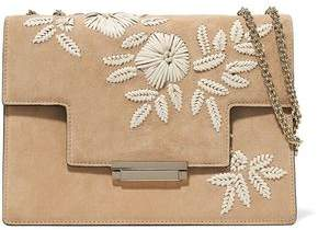 AERIN Embroidered Suede And Leather Shoulder Bag
