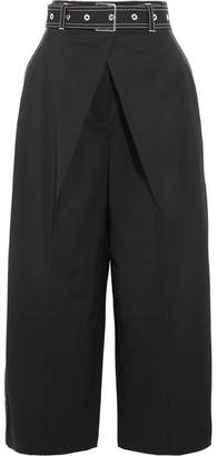 Cropped Wool-blend Twill Wide-leg Pants - Black