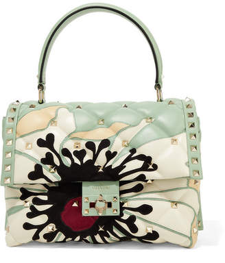 Valentino Garavani Candystud Velvet And Suede-trimmed Quilted Leather Shoulder Bag - Mint