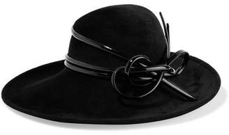 Philip Treacy Patent Leather-trimmed Wool-felt Fedora - Black