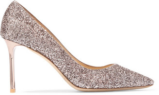 Jimmy Choo - Romy Glittered Leather Pumps - Pink $625 thestylecure.com