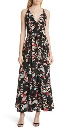 Diane von Furstenberg Floral Keyhole Tie Waist Silk Maxi Dress