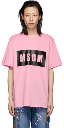MSGM Pink Box Logo T-Shirt