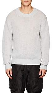 Taverniti So Ben Unravel Project Men's Loose-Knit Stockinette-Stitched Sweater - Light Gray