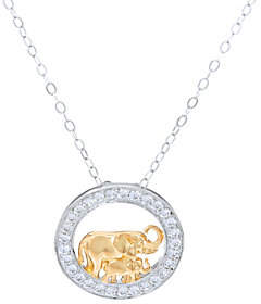 Diamonique TOVA for Elephant Pendant w/ Chain,Sterling