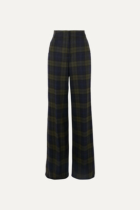 Akris Floyd Checked Wool-blend Wide-leg Pants - Green