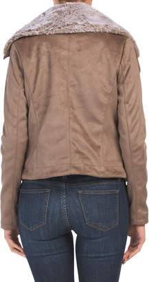 Juniors Faux Suede Jacket With Faux Fur Collar