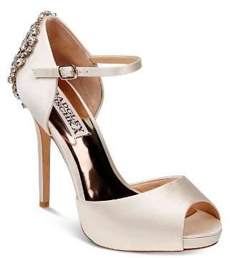 Badgley Mischka Dawn Embellished Satin Ankle Strap High-Heel Pumps