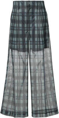 Toga Pulla checkered print sheer wide leg trousers