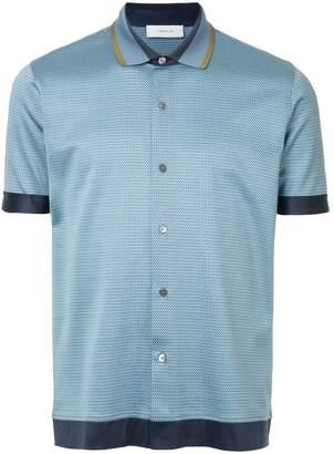 Cerruti contrast-trim micro-print polo shirt