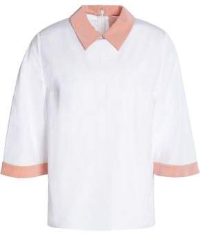 Roksanda Two-Tone Cotton And Silk-Blend Poplin Shirt