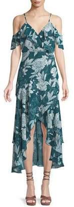 Bardot V-Neck Sleeveless Floral-Print Garden-Party Dress w/ High-Low Hem