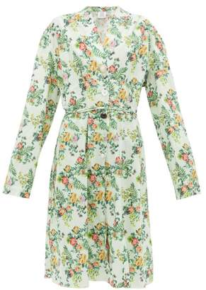 Vetements Floral Print Tie Waist Cotton Dress - Womens - Green Multi