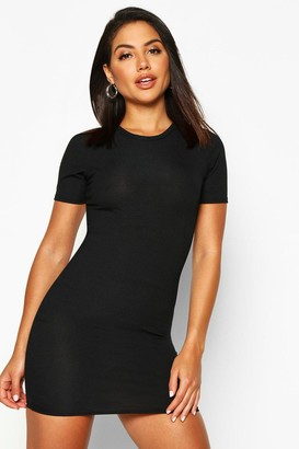 at boohoo boohoo Fiona Basic Rib Crew Bodycon Dress