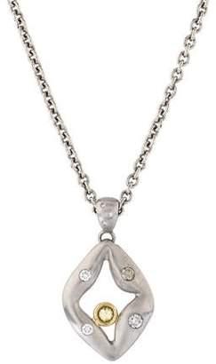 Palladium Diamond and Pendant Necklace